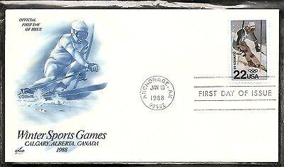US SC# 2369 Winter Olympics ,Calgary FDC. Blue Artcraft Cachet..