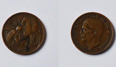 10 Centesimi Italien 1919 R Vittorio Emanuele III. Viktor Emanuel III. Selten!