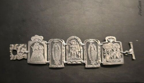 Oxidized Pewter Mexican Virgin of Guadalupe Saints and Virgins Bracelet 5 panels