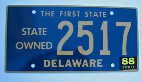"1988 EXEMPT DELAWARE LICENSE PLATE "" 2517 "" DE  LOW NUMBER RARE TYPE"
