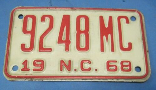 1968 North Carolina motorcycle license plate never used