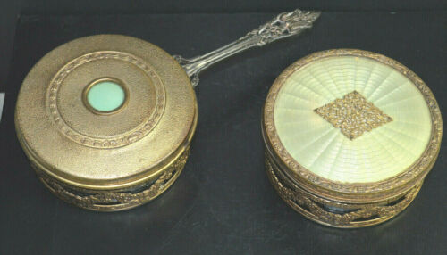 ANTIQUE APOLLO POWDER JARS WITH HANDHELD MIRROR LID MAKEUP VANITY