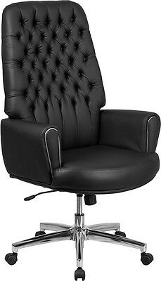 LOT OF 8 CONFERENCE TABLE HIGH BACK TUFTED BLACK LEATHER EXECUTIVE SWIVEL CHAIR - High Back Conference Chair