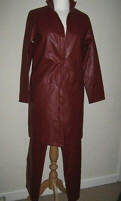 WOMENS VINTAGE WINE / BURGUNDY LEATHER STYLE LONG JACKET & TROUSERS SMALL