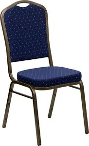 CROWN BACK STACKING BANQUET CHAIR WITH NAVY BLUE PATTERNED FABRI