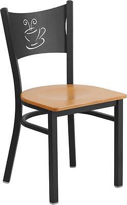 Hercules Series Black Coffee Back Metal Restaurant Chair - Natural Wood Seat