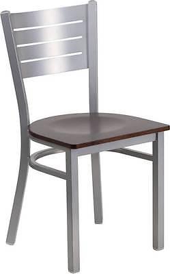 Silver Slat Back Metal Restaurant Chair - Walnut Wood Seat