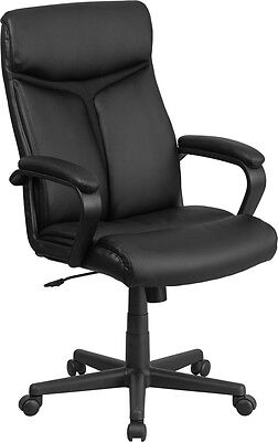 Lot Of 12 High Black Leather Swivel Conference Table Chairs