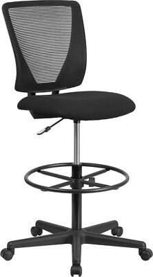 Ergonomic Mid-back Mesh Drafting Chair W Fabric Seat And Adjustable Foot Ring