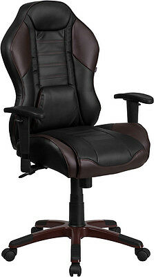 High Back Marrone Eklipsis Brown Vinyl Executive Swivel Office Chair