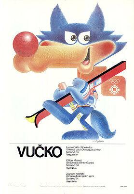 """Olympische Winterspiele 1984 Sarajevo Plakat Motiv """"Maskottchen Vucko"""" J. Trobec"""