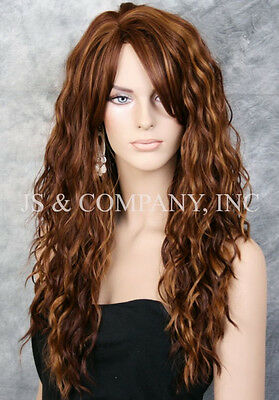 Super model Long HEAT SAFE Wavy Full Body Wig Blonde Auburn mix HSP 27-30-33