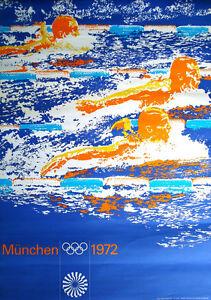 MUNICH 1972 OLYMPICS SWIMMING A1 23x33.5 poster OTL AICHER art RARE VINTAGE NM
