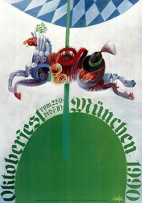 OKTOBERFEST MÜNCHEN 1990 ORIGINAL offizielles A1 Wiesn-Plakat / Poster Munich