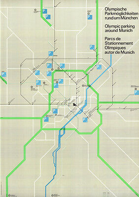 """Olympische Spiele 1972 München """"Parkmöglichkeiten"""" DIN A0 Otl Aicher Olympiade"""
