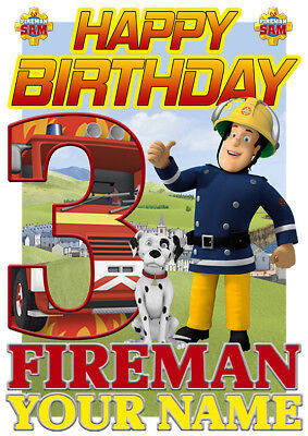 Fireman Sam Happy Birthday Personalised Boys Girls T-Shirt Ideal Gift/Present