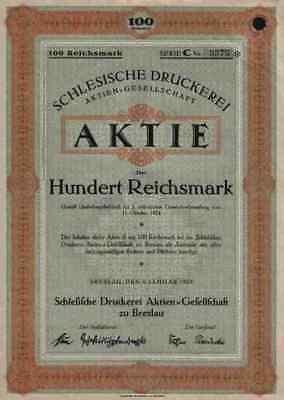 Schlesische Druckerei AG 1925 Breslau Wroclaw Schlesien Historische Wertpapiere