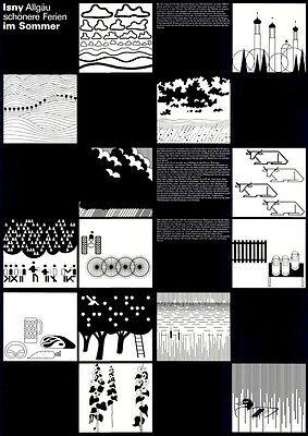 """Otl Aicher - Isny Werbeplakat DIN A1 Motiv """"Ferien im Sommer"""" Design / Grafik"""