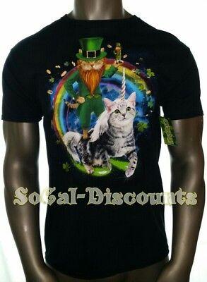 St Patricks LEPRECHAUN CAT, UNICORN CAT Men's SZ Medium Black Shamrock Shirt NWT - St Patricks Shirts