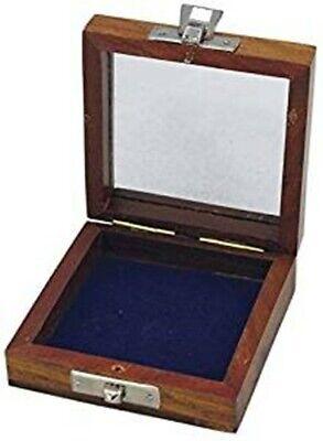 Pequeño Caja de Madera con Tapa de Cristal Para Brújula Etc