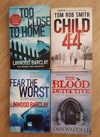 4 paperback books - Crime/suspense/thriller themed