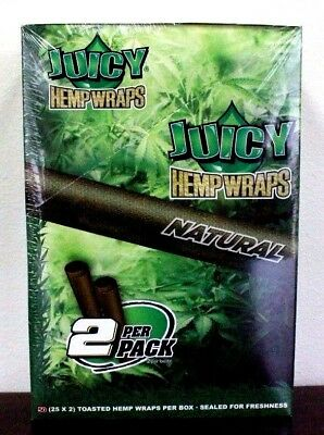 Juicy Jays Hemp Wraps Natural Toasted 25 Packs 2 Wraps Per Pack Sealed
