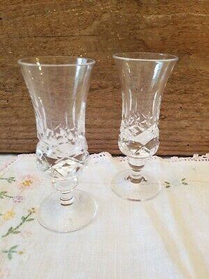 Galway Irish Lead Crystal Set Of 2 Plain Foot Sherry Cordial Glasses Galway Crystal Set