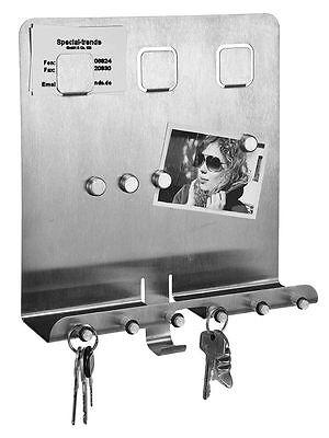 Edelstahl Schlüsselboard mit Memoboard + Ablage - Schlüsselbrett Schlüsselleiste