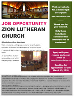 Zion Lutheran Church seeks Administrative Assistant