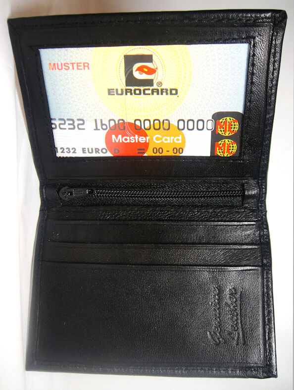 Black Leather Slim Credit Card Holder Id Wallet Front Pocket Id Window - A15s