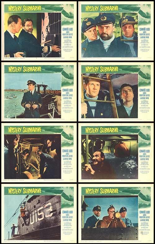 MYSTERY SUBMARINE original WW2 movie posters BRITISH NAVY 11x14 lobby card set