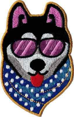 - 110011 Super Cool Dog Sunglasses Bandana Husky Puppy Embroidered Iron On Patch