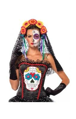Day of The Dead Costume Bustier Adult Dia de Los Muertos Sugar Skull La Catrina](Day Of The Dead Catrina Costume)