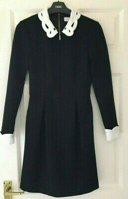 TED BAKER sz 10 ( 2) BLACK WHITE SHEALAH EMBROIDERED COLLAR DRESS IMMACULATE
