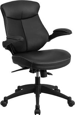 MID-BACK BLACK LEATHER OFFICE CHAIR WITH BACK ANGLE ADJUSTMENT AND FLIP-UP ARMS ()