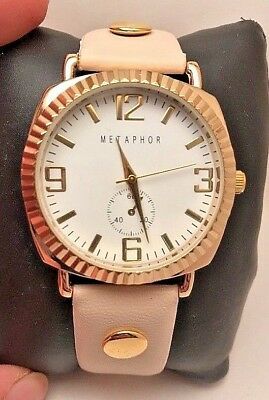 Analog White Dial Watch (WOMEN'S METAPHOR ANALOG WATCH BEIGE BAND GOLD TONE CASE WHITE DIAL H47 )