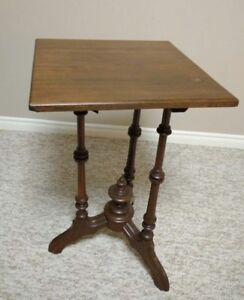 Small square antique brown wooden side table