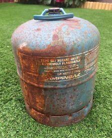 Campingaz 907 butane gas bottle cylinder plus regulator. Still has gas in it.
