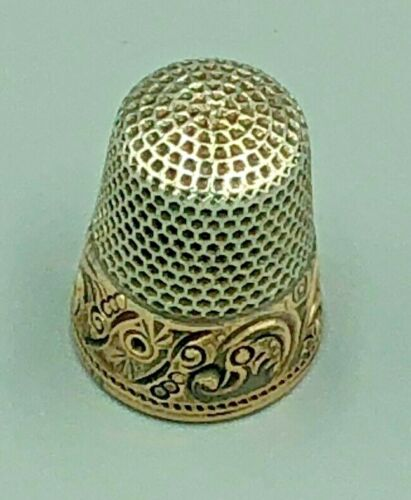 Ketcham & McDougall Thimble Sterling & 10K Yellow Gold c 1876-1930 New York Mark