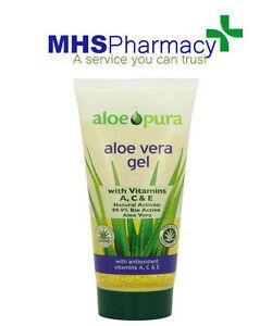 aloe pura aloe vera organic gel skin for burns vitamins treatment 200ml ebay. Black Bedroom Furniture Sets. Home Design Ideas