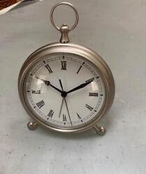 Pottery Barn Desk Table Antique Vintage Pocket Watch Clock Medium Pewter finish