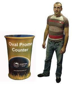 Trade Show Event OVAL Portable Podium Counter Table + Graphics