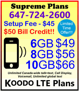 KOODO LTE Data Plans - 1GB, 6GB, 8GB, 10GB, 12GB + $50 BONUS