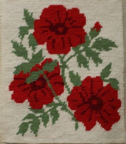 Red Flowers White Background Needlepoint Completed Finished