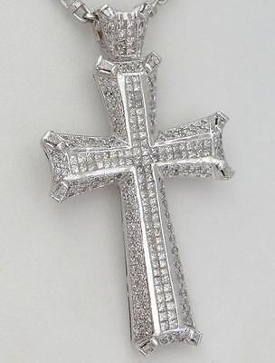 "MENS 14K WHITE GOLD 8.00ct DIAMOND CROSS CRUCIFIX GALLERY PENDANT 3.24"" 41g"