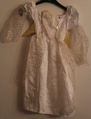 Kostüm Engel 3-5 Jahre  116 / 122  mit viel Gold und Flügel Karneval, Fasching (Weiß Und Gold Engel Kostüm)