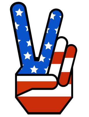 1960s Peace Sign (1960's PEACE SIGN VINTAGE DECAL USA FLAG JEEP, RATROD, HONDA,)