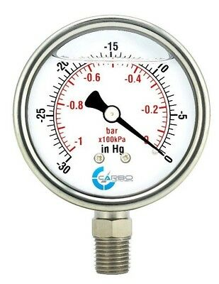 2-12 Vacuum Gauge Stainless Steel Case Liquid Filled Lower Mnt -30 Hg0