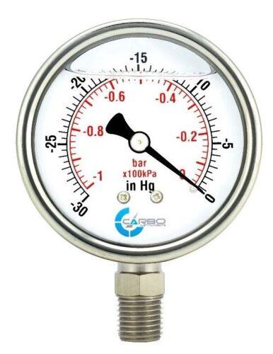 "2-1/2"" Vacuum Gauge, Stainless Steel Case, Liquid Filled, Lower Mnt -30 Hg/0"