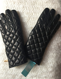 Guess Quilted Leather Womens Gloves, Small